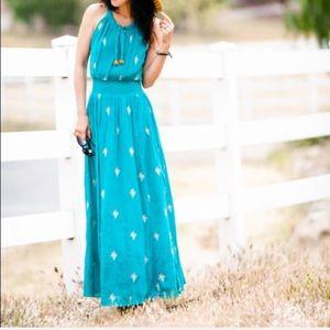 Anthropologie Floreat maxi turquoise dress